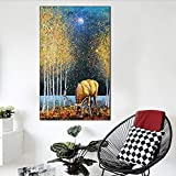 Modern Minimalist Wearing Flower Beauty Month elk Color Lion Landscape Print Canvas Oil Painting...