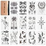 WOWOSS 60 Blätter Wasserdicht Temporäre Tattoos Fake Tattoos Body Art Tattoo Aufkleber Schwarz und...