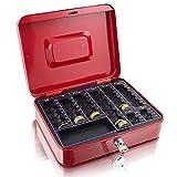 Geldkassette 25 cm groß abschließbar Münz Geld Zählbrett Kasse Safe Rot 250mm x 200mm x 70mm...