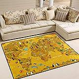 ALINLO Teppich, Cartoon-Tier-Weltkarte Ozean, Rutschfester Teppich, Fußmatte für drinnen und...