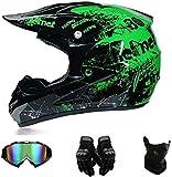 YXLM Motocross-Helm mit Brille, Enduro-Helm, Downhill-Helm für Kinder, Quad Enduro, ATV, Motorrad,...