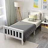 ModernLuxe Weiß Einzelbett Jugendbett 90 x 200 cm Kinderbett Holzbett aus Bettgestell mit...