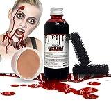 BIOSCEN Halloween Kunstblut 100 ml und 50 g Modellierwachs, Zombie Vampir Wundschorf Schminke,...