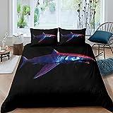 Hai Bettwäsche Set 200x200cm für Teenager Ozean Underwater Welt Betten Set Chic Marine Creature...
