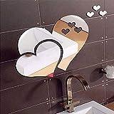 Kalun Wandaufkleber, 3D-Spiegel, Liebesherzen, Wandaufkleber, selbstklebend, entfernbar