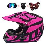 DHShop Motocross-Helm und Schutzbrille (4 Stück) - Schwarz und Blau - Erwachsener...