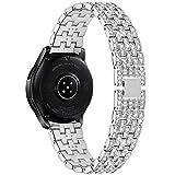 Tencloud Kompatibel mit Samsung Galaxy Watch 3 Armband, Bling Bling Bling Edelstahl Armband Band...