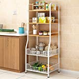 HttKse Durable Kitchen Bakers Rack-Utility Storage Shelf 5-Tier-Regal Mit 2 Drahtkörbe for Ofen...