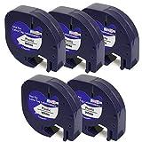 5 x Kunststoff-Etiketten Dymo LetraTag 91201 S0721610 S0721660 schwarz auf weiß (12mm x 4m)...