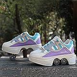 KMDB Unsichtbare Roller Skate, 2-in-1-Verformungsscheiben/Parkour-Schuhe, Doppelreizende...