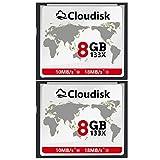 Cloudisk 2X CF Karte 8 GB Compact Flash Speicherkarte Leistung für Vintage Digitalkamera (2PACK 8GB...