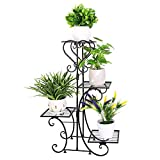 Wisfor Metall Pflanzenregal 4 Ebenen: Blumentreppe Retro Pflanzentreppe für innen und außen Garten...