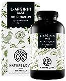 NATURE LOVE® L-Arginin Base mit Citrullin - Einführungspreis - Hochwertiges pflanzliches Arginin...