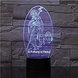3D katholische ST Anthony von Padua Tischlampe Led Nachtlicht Festival Laterne Weihnachten Kinder...