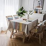 YCZZ Kleine frische nordische Couchtisch-Tischdecke mit Fransen und Verbrühungsschutz 140 * 160 cm...