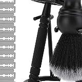 Yuyanshop Haar-Bartbürste, Haar-Rasierpinsel und Ständer, Rasier-Set für Männer, Rasierständer...