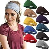 10 Stück Breit Stirnband Einfarbig Boho Yoga Haarband Elastisch Dehnbar Weich Schweißband Haar...