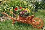 Dekorative massive Schubkarre XXL, behandelt aus Holz, Gartendeko, bepflanzen möglich, Pflanzkorb,...