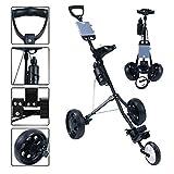 HLR Golftrolley Zieh Golfcarts Golf-Trolley 3-Rad, Golf Push Cart One Second zum Öffnen und...