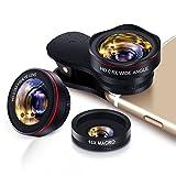 Yarrashop Handy Objektiv Set fisheye Lens - Universal 3 in 1 Clip On Fischauge Telefone Kamera...