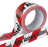 Warnband Klebeband Packband Bitte Abstand halten 1 Rolle weiß mit schwarz-rotem Druck - 50 mm breit...