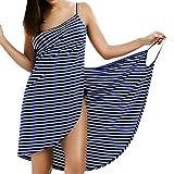 LumiSyne Strandkleider Damen Bikini Badeanzüge Cover Ups Ärmellos Wickelrock Sexy V Ausschnitt...