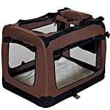 PET VIOLET Transportbox Faltbare Hundebox Katzenbox Tragetasche 62x42x44 cm, Braun