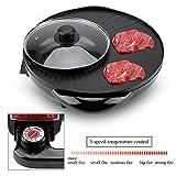Elektrische Grillpfanne, 1500W 2-in-1-Elektro-Pfanne Hot Pot BBQ Braten Cook Grill Küche,...