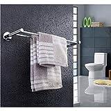 ZDVHM Handtuchwärmer Wand befestigter Edelstahl Doppel Pole Badezimmer Küche Regal Handtuchhalter...