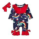 FYMNSI Weihnachten Neugeborenes Baby Mädchen Kleidung Weihnachtsmann Strampler Langarm Bodysuit...