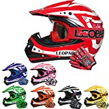 Leopard LEO-X17 Kinder Motocross MX Helm { Motorradhelm + Handschuhe + Brille} Rot L (53-54cm) ECE...
