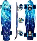 Oppikle 22' 55cm Mini Cruiser Skateboard Retro Komplettboard mit LED LeucCruiser-Board mit LED...
