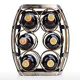 NYKK Dekorativer Flaschenhalter Weinhalter 6 Flaschen Weinregal Tischplatte Barrel Weinregal Robuste...