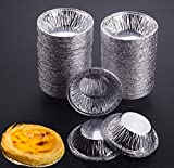 Aokshen Einweg-Form fr Ei, Tart-Form, rund, Aluminiumfolie, Cupcake-Form, 100 Stck