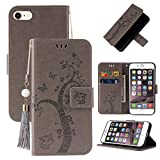 Miagon Brieftasche Flip Hülle für iPhone 6/6S,Schön Schmetterling Baum Katze Design PU Leder Buch...