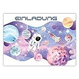 Pandawal 12x Astronauten Einladung Einladungskarten Kindergeburtstag für Kinder...