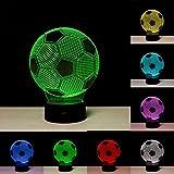 3D Illusion Fußball Lichter Lampe, Fußball LED Tisch Schreibtisch Dekor 7 Farben Touch Control USB...