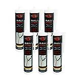 Bauacryl 6 x 300 ml | Acryl weiss | Fugendichtmasse zum Abdichten von Rissen | Dichtstoff -...