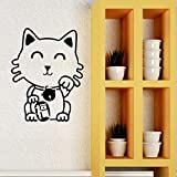 57X73Cm Lucky Cat Wandtattoo Amulett Maskottchen Japanische Kunst Amulett Vinyl Fenster Aufkleber...