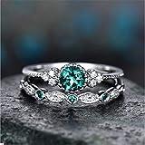 zhuoyun Mode Bachelore Zirkon Ring Silber Micro-Set Smaragd Ring Runde Geschnitten Saphir Frauen...