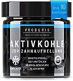 Proderis Kokosnuss Aktivkohle Pulver fr weie Zhne mit frischem Menthol Vegan Activated Charcoal...