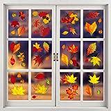 Herbst Fensterbilder Erntedankfest fensteraufkleber ohne Kleber Thanksgiving Fensterdeko...