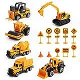 Vegena Bagger Sandkasten Spielzeug, 16 Stück Baufahrzeuge Set Betonmischer Lastwagen...