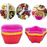 Bligo Cupcake-Formen, 24 Stück Wiederverwendbare Backförmchen Muffin-Formen aus Silikon, Cupcake...