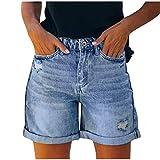 Briskorry Damen High Waist Basic Jeansshorts Bequeme Kurze Jeans Hosen Zerrissen Roher Saum Denim...
