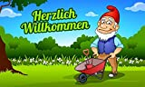 Fanshop Lünen Fahne - Flagge - Zwerg - Herzlich Willkommen - (Gartenzwerg) - Garten - Blumen -...