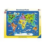 Ravensburger Kinderpuzzle 06641 - Weltkarte mit Tieren - Rahmenpuzzle