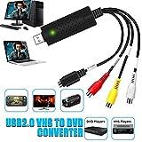 DIWUER USB 2.0 Audio Video Konverter, Video Grabber Neue Software Windows 10 fhig VHS VCR DVD...