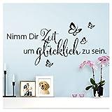 Wandaro Wandtattoo Spruch Nimm Dir Zeit um I schwarz (BxH) 80 x 36 cm I Aufkleber selbstklebend für...