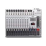 Mischpult,GMX1200 Professionelle Audiomixer-Mikrofonkonsole DJ Music Studio 12 Kanäle 8 Mono 4...
